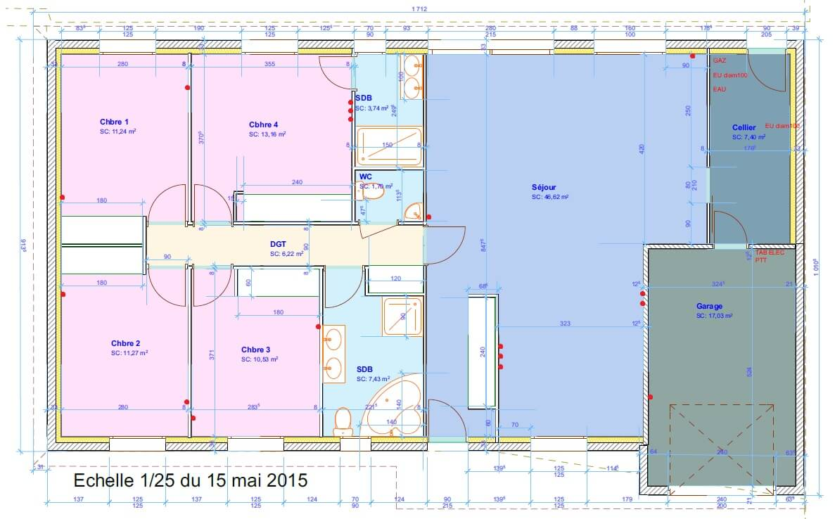 Vdi th que grade 3 maison 125 m2 4 chambres r seau for Baie de brassage maison