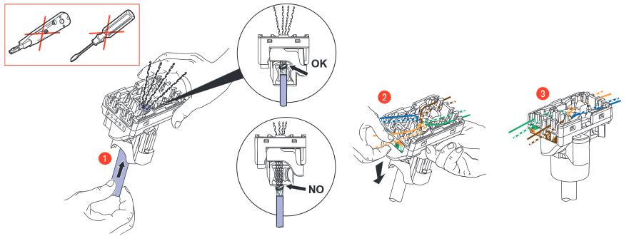 Câblage RJ45 : Insertion du câble ethernet blindé dans une prise RJ45