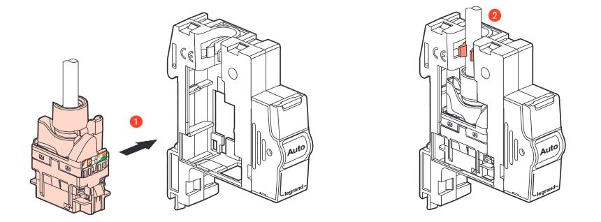 Câblage RJ45 : Insertion du connecteur RJ45 dans le module Legrand