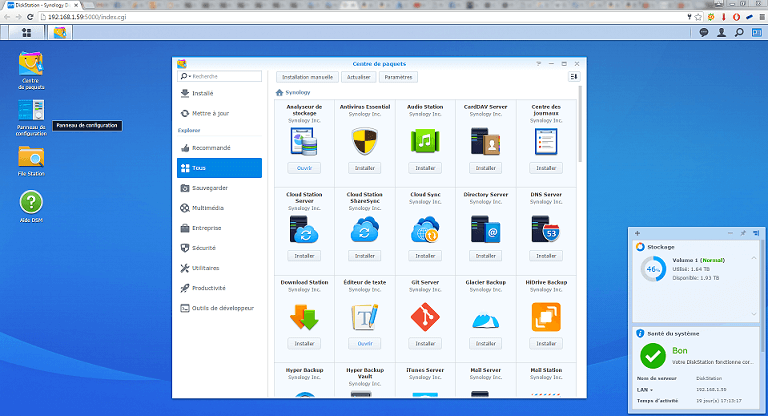 Interface des Nas Synology